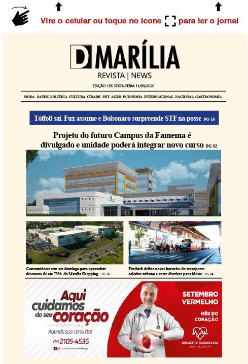 D MARÍLIA REVISTA NEWS – EDIÇÃO 11-09-2020 – SEXTA-FEIRA