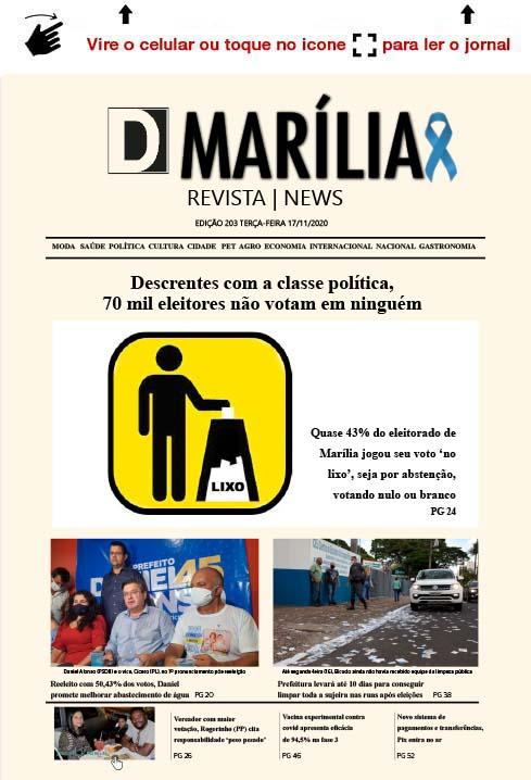 D MARÍLIA REVISTA NEWS – EDIÇÃO 17-11-2020 – TERÇA-FEIRA